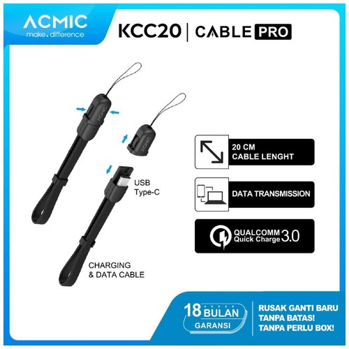 ACMIC KCC20 Kabel Data Charger 20cm USB Type C Fast Charging Cable