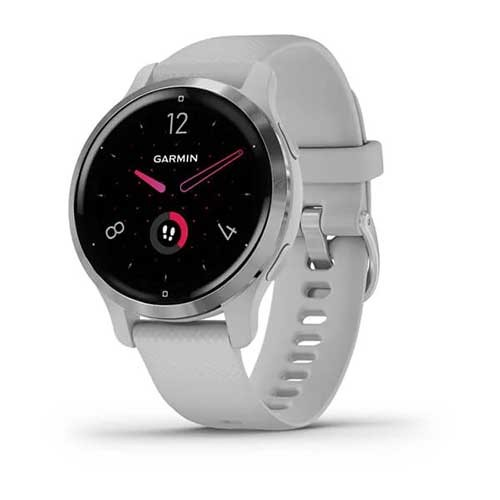 Garmin Venu 2S Silver Stainless Steel Bezel with Mist Gray Case and Silicone Band