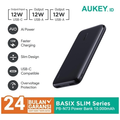 AUKEY PB-N73 BASIX SLIM 10000 - Powerbank 10000mAh Dual Input Output