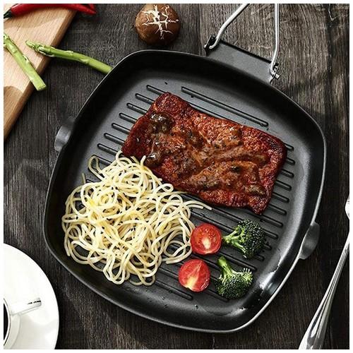 Panci Panggang Steak 20cm Square Grill Pan Anti Lengket / Teflon BBQ Bakaran Sate Wajan Lipat Serbaguna