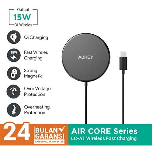 Aukey Wireless Charger LC-A1 Aircore Magnetic Qi Certified 15W - 500822