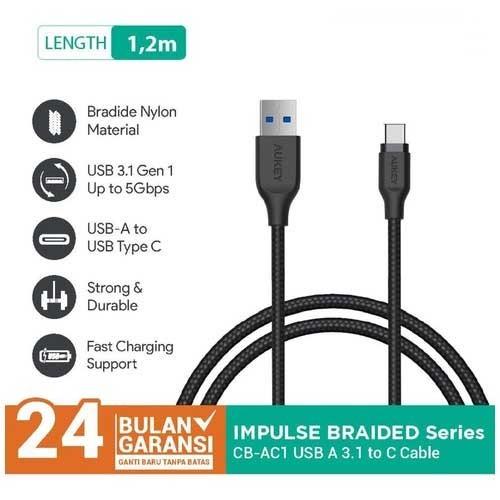 Kabel Charger Type C Aukey CB-AC1 1.2M USB 3.1 gen 1 Braided Black - 500279