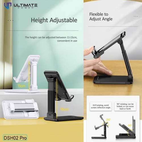 Ultimate Power Foldable Retractable Desktop Stand Holder for Phone n Tablet - Black