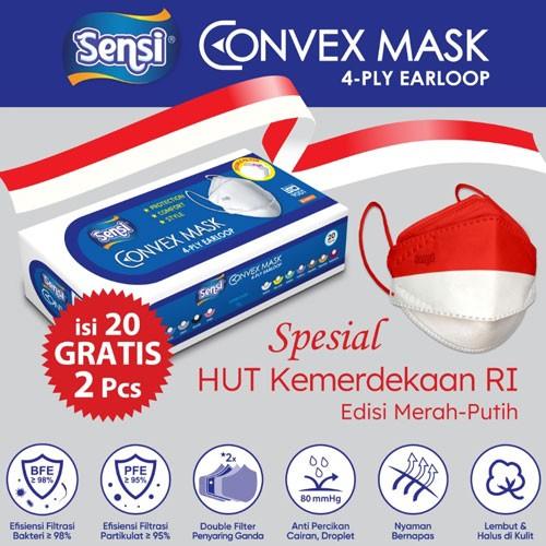 Sensi Convex Mask Earloop Edisi Merah Putih Isi 20pcs Gratis 2pcs