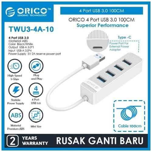 ORICO 4 Port USB 3.0 HUB 100CM - TWU3-4A-10 - WHITE