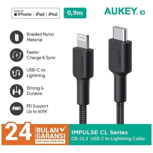 Kabel Charger Aukey CB-CL3 Black USB C to Lightning - 500820