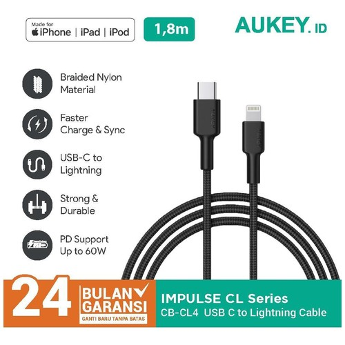 Kabel Charger iPhone Aukey CB-CL4 USB-C to Lightning 1.8m - 500821