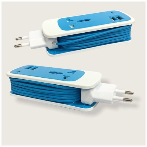 Dual USB Universal Socket 3 in 1 FZ-015 - Blue