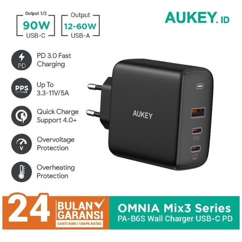 AUKEY PA-B6S - OMNIA MIX 3 - 90W 3-Port PD GaN Charger