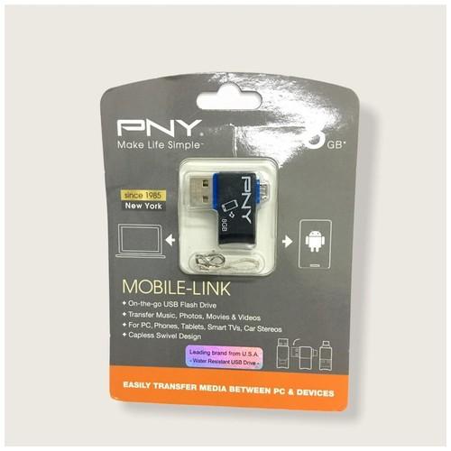 PNY 8GB OTG Micro USB Flash Drive - Blue