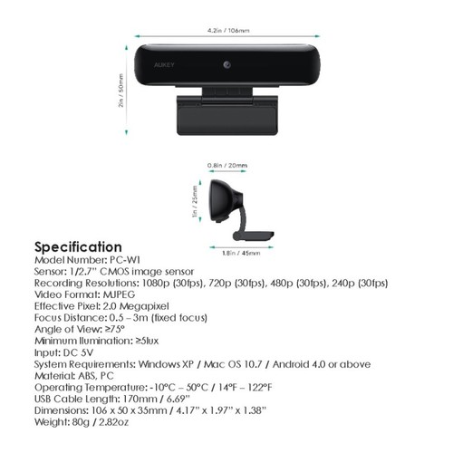 AUKEY PC-W1 - STREAM Series - 1080P Webcam