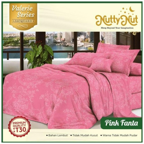 Nutty Nut Bed Cover Set Micro Jacquard -160x200x30 Queen-Pink Fanta