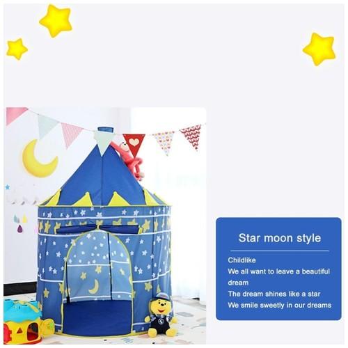 Tenda Lipat PREMIUM Bermain Anak Portabel Warna Menarik - Model Istana Blue