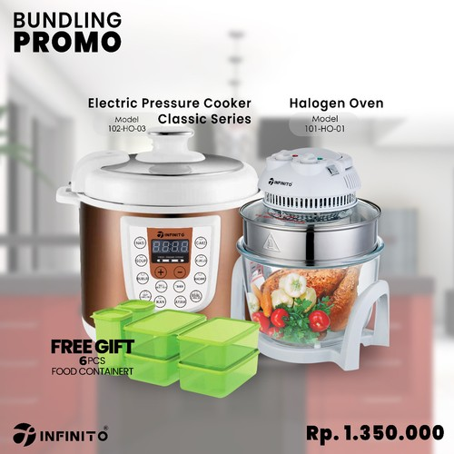 Infinito Electric Pressure Cooker 102-HO-03 Bundling Infinito Halogen Oven 101-HO-01