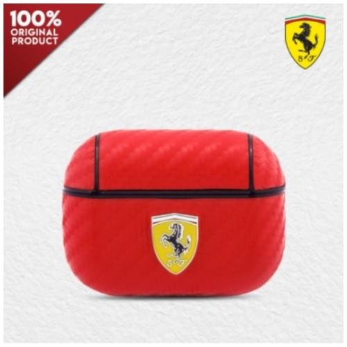 Case Airpods Pro Ferrari PC PU Carbon Yellow Logo - Red