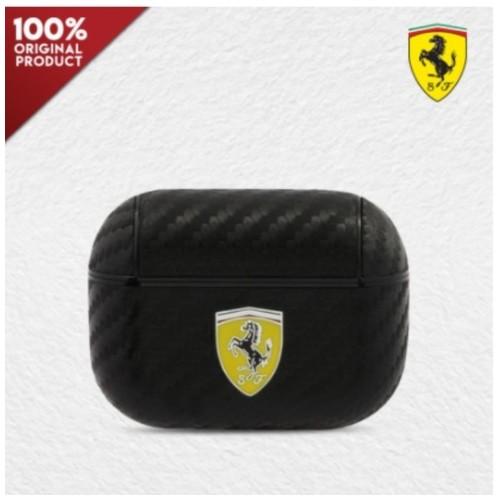 Case Airpods Pro Ferrari PC PU Carbon Yellow Logo - Black