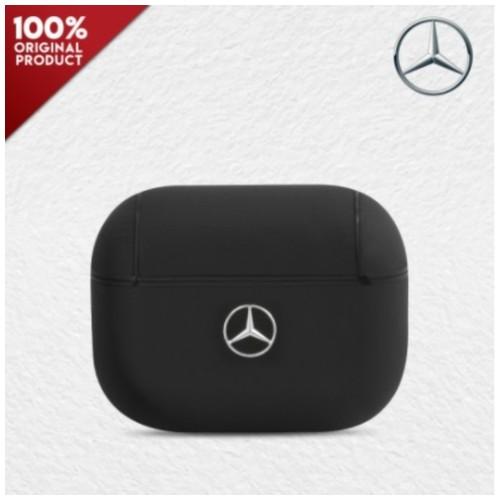 Case Airpods Pro Mercedes Benz Leather Metal Logo - Black