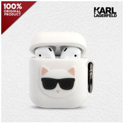 Case Airpods 1/2 Karl Lagerfeld Choupette Silicone - White
