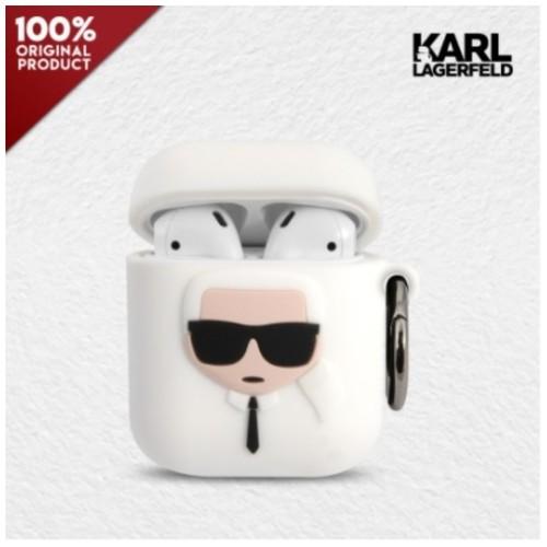 Case Airpods 1.2 Karl Lagerfeld Ikonik Karl Silicone - White