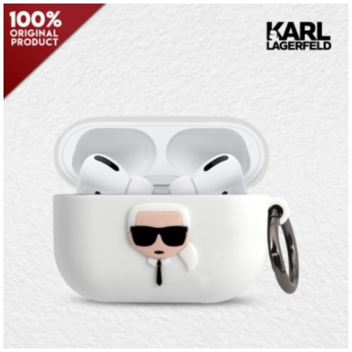 Case Airpods Pro Karl Lagerfeld Ikonik Karl Silicone - White