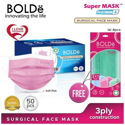 BOLDe Surgical Mask Platinum Plus (Pink Pastel) 50 pcs