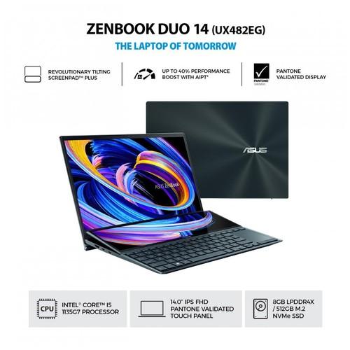 ASUS ZenBook Duo 14 UX482EG-KA551IPS (Intel® Core™  i5-1135G7/8GB/512GB SSD/Windows 10 Home /NVIDIA GeForce MX450 Graphics) - Celestial Blue