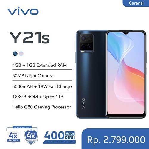 Vivo Y21s (RAM 4GB +1GB Extended/128GB) - Midnight Blue