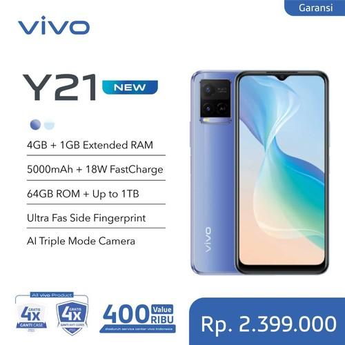 Vivo Y21 (RAM 4GB +1GB Extended/64GB) - Metallic Blue