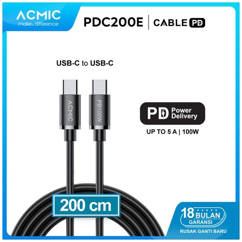 ACMIC PDC200e Cable 2M USB Type C to USB Type C Power Delivery PD 100W