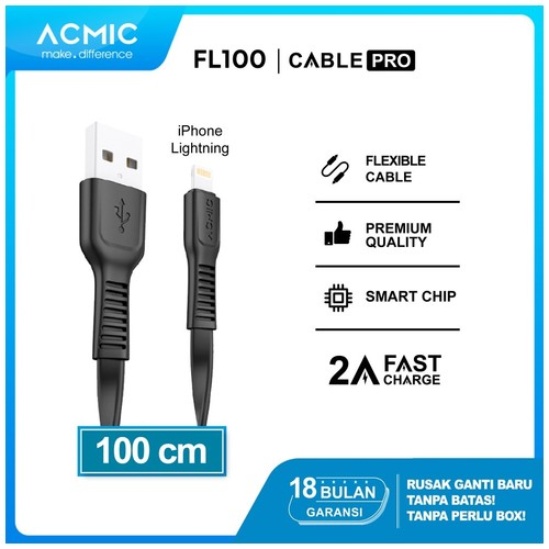 ACMIC FL100 Kabel Data Charger iPhone Lightning Fast Charging Cable
