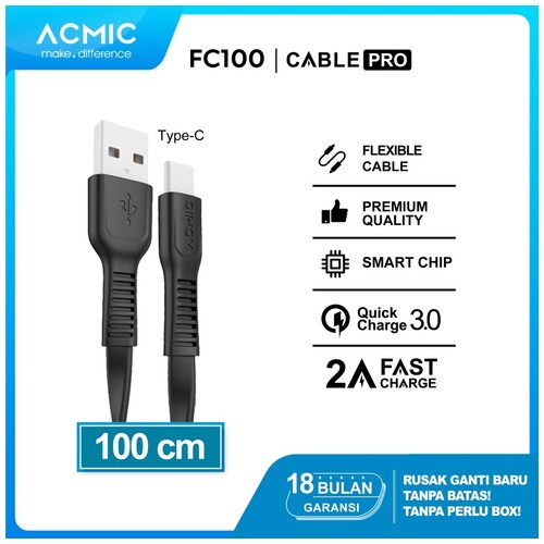 ACMIC FC100 Kabel Data Charger USB Type C 100cm Fast Charging Cable