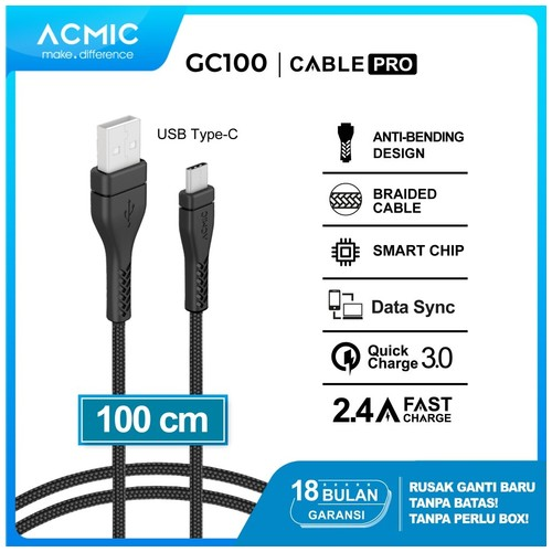 ACMIC GC100 Kabel Data Charger USB Type C 100cm Fast Charging Cable