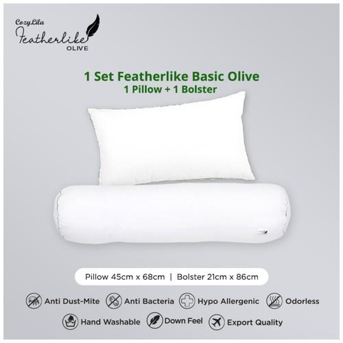 Paket 1 Bantal 1 Guling Featherlike Basic Olive (Single List)