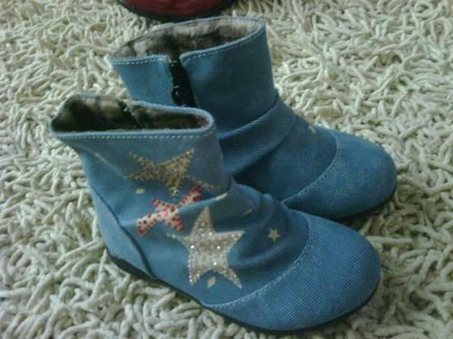 Sepatu Boots anak perempuan, bahan jeans yang sedang trend, dengan ...