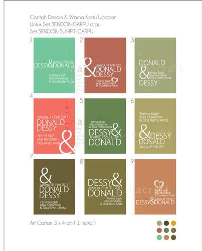 kartu ucapan dengan desain dan warna kartu yang bisa dipilih pemesan