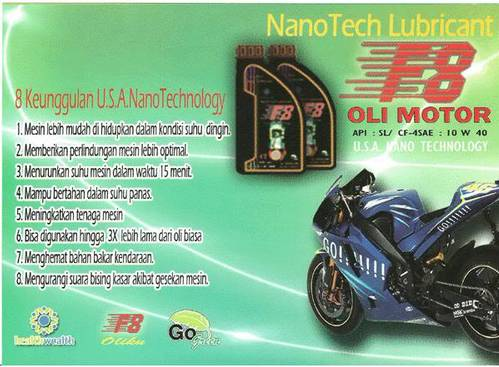 Jual OLI NanoTech Lubricant F8 Untuk motor&mobil.Sangat irit & harga termurah.