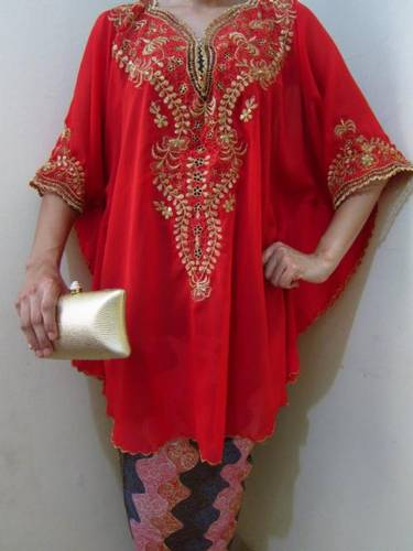 Jual Tunik Bordir Melati Merah