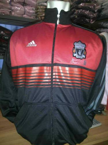 Jual JAKET BOLA CLUB LIVERPOOL ANTHEM HITAM LIS MERAH GRADE ORI  Made In Thailan...