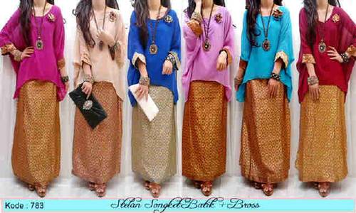 Jual Setelan blouse chiffon songket batik bross / dress / modern / baju wanita/...