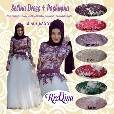Jual BUSANA MUSLIM SELINA DRESS BY RIZQINA PURE SILK TILE