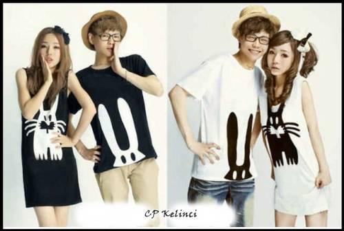 Jual BAJU COUPLE KOREA : CP KELINCI warna hitam/putih