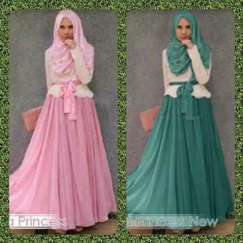 Muslim hijabers busana pesta wanita diana princes atasan brokat + skri