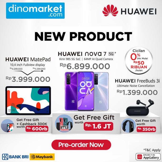 Cashback 850rb +Total BONUS up to 2,5 JUTA NEW Huawei Nova 7 5G* | Huawei Matepad | Freebuds 3i