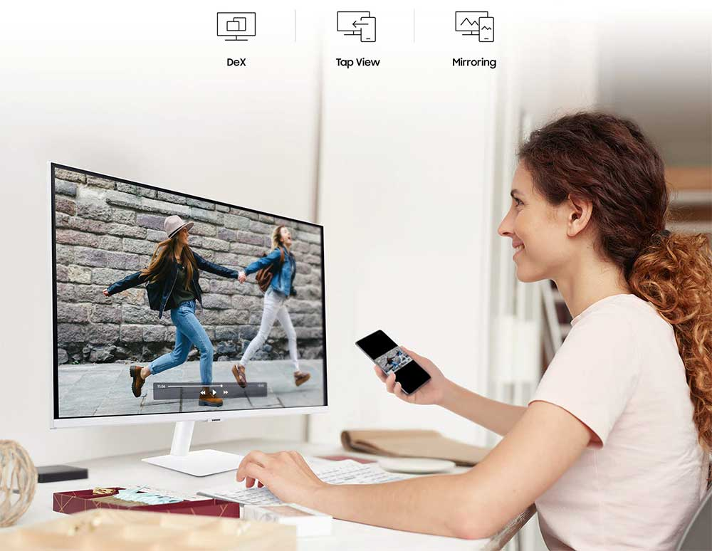 Samsung 27 inch M5 FHD Smart Monitor White Color Design with Streaming TV - White